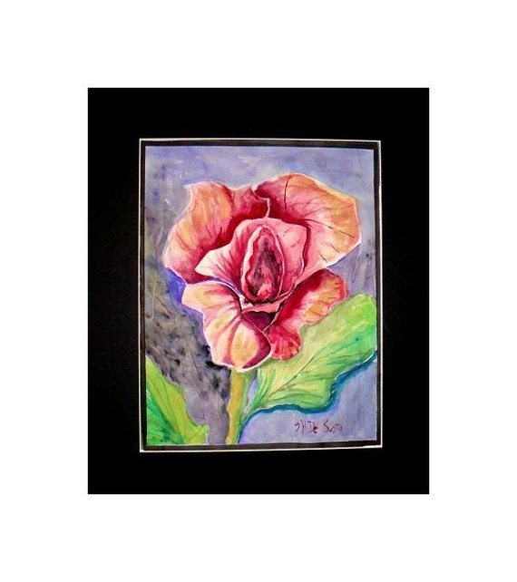 Mother's day gifts, single red rose, watercolor art, home decor, #42