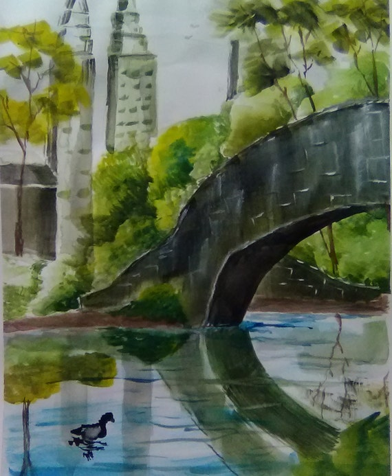 "Central Park, New York"", Watercolor Painting, Park Painting, Bidge, Original Wall Art Painting, Gift # 195"