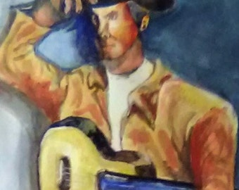 Cowboy Man Hat and Guitar Painting, Watercolor Original Painting, Cowboy hat, Guitar Painting 14 x 17 inch.One-of-a-kind painting Gift, #201