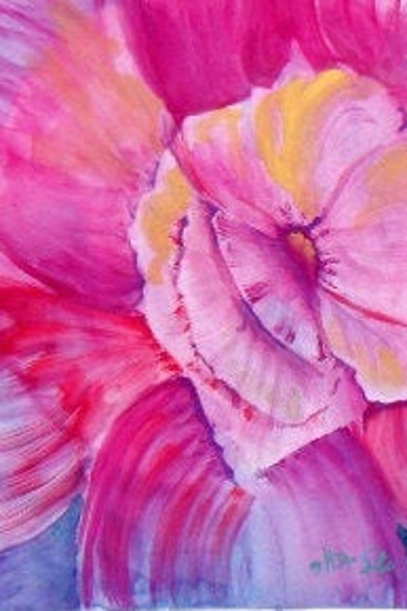 Mother's day gifts, hot pink flower, watercolor painting, gifts for her, pink flowers, floral wall art, wall pictures, dining room decor #44