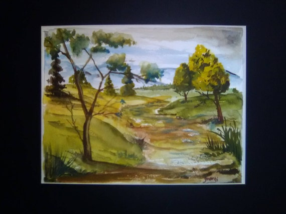 Scenic Nature Original Watercoler Landscape Painting Print, 11x14 Print, With16x20  Mat,,Home Decor, Gift# 077