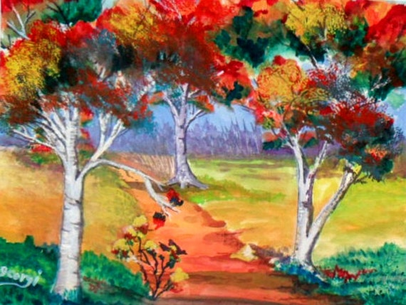 Modern wall art, birch tree, tree wall art, autumn colors, watercolor painting, cheap wall art, landscape art, bedroom  art, home decor # 69