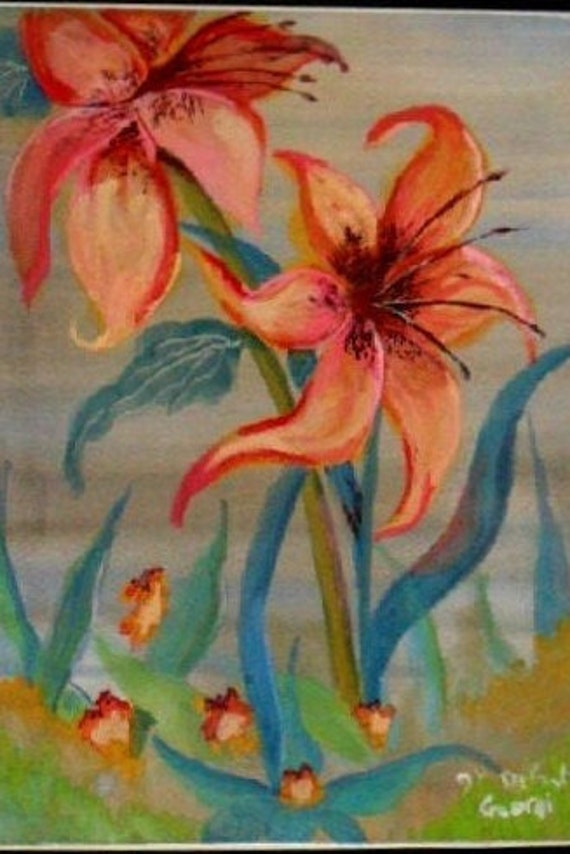Mother's day gifts, tiger lillies, watercolor art prints, floral paintings, flower wall art, watercolor painting, home wall decor#8B