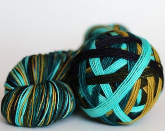 "Dyed to Order: ""Lake Life (5 color self-striping)"" - Aqua, Dark Blue, Teal, Avocado Green, Khaki"