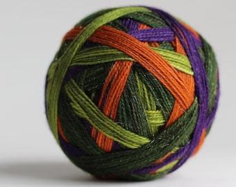 """Ready to Ship! Skein: """"Winifred Sanderson (4 stripe)"""" - Pumpkin Orange, Purple, Apple Green & Double Wide Avocado Green Stripe"""