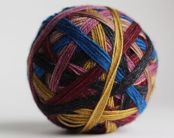 """Dyed to Order: """"Amas Veritas (6 stripe)"""" - Pink-tinged tan, pale gold, pale mauve, black, midnight blue & deep red stripes"""