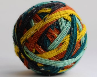 """Ready to Ship! Skein: """"Witching Hour (5 Color self-striping)"""" - Yellow, Mint, Orange, Teal & Black Stripes"""
