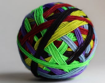 """Ready to Ship! Skein: """"Camp Nightmare (6 Color Goosebumps inspired)"""" - Pale Blue, Rusty Red, Pale Purple, Lemon Lime, Shocking Green, Bla"""