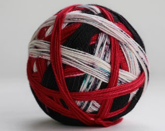 """Ready to Ship! Skein:""""Scary Stories to Tell in the Dark (3 Color Stripe)""""-Thick Black, Red, Thick White Stripe w/ red, gray & aqua speckles"""