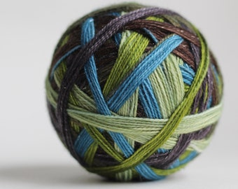 """Dyed to Order: """"Sally Owens (6 stripe)"""" - Sea Blue, Brown, Apple Green, Medium Gray, Pale Green, and Avocado Green"""