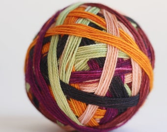 "Ready to Ship! Skein: ""Sleepy Hollow (6 stripe)"" - Pale Blush, Bright Purple, Golden Orange, Pale Green, Deep Raisin & Black Stripes"