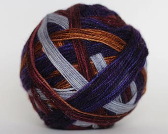 "Dyed to Order: ""Quirrell (6 color self-striping)"" - Silver, Woodsy Brown, Dark Mauve, & Deep Purple Stripes"