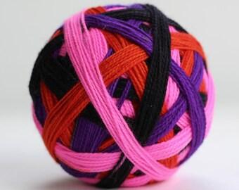 "Ready to Ship! Skein: ""The Slutty Pumpkin (Self-striping)"" - purple, black, hot pink, orange stripes"