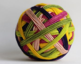 """Ready to Ship! Skein: """"Ambitious Mamas & Fortune-Hunting Gentlemen (6 color Bridgerton self-striping)"""" -"""