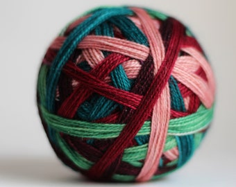 """Ready to Ship! Skein: """"Christmas Past (5 color self-striping)"""" -  Pale Pink, Sage Green, Teal, Deep Berry & Wine Purple"""