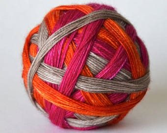 "Ready to Ship! Twisty Sock - ""I Woke Up Like This"" - Magenta, Tan, Orange stripes"