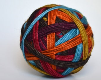 """Ready to Ship! Skein: """"(Rhinebeck) Sweater Weather"""" - Deep Purple, Sky Blue, Brown, Gold, Orange, Red stripes"""
