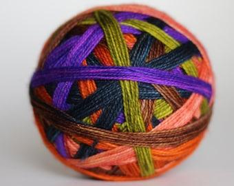 "Dyed to Order: ""Practical Magick"" - Electric Purple, Wood Brown, Peach, Dark Gray-Blue, Scummy Green, Pumpkin Orange stripes"