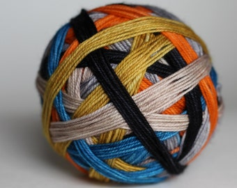 """Ready to Ship! Skein: """"You Can't Kill the Boogeyman (Halloween Inspired)"""" - Orange, Light Tan, Charcoal Gray, Yellow, Lt Gray, Blue Stripes"""
