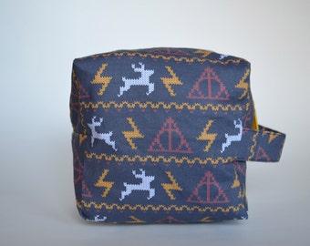 Christmas at Hogwarts Knitting & Crochet Project/Toiletry Sock Cube Bag