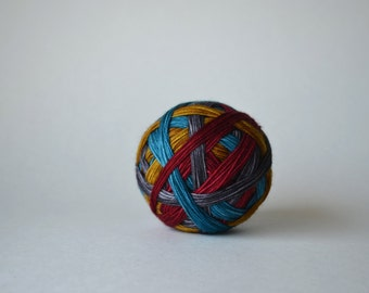 "Dyed to Order: ""Americana (self-striping)"" - Deep Red, Blue, Silver Gray, Gold stripes"
