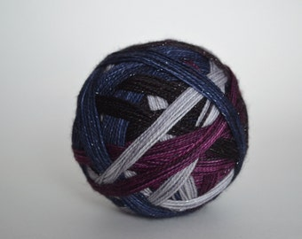 "Dyed to Order: ""Sirius (4 color self-striping)"" - Dark Wine Purple, Black, Silver Gray, Dark Inky Blue Stripes"