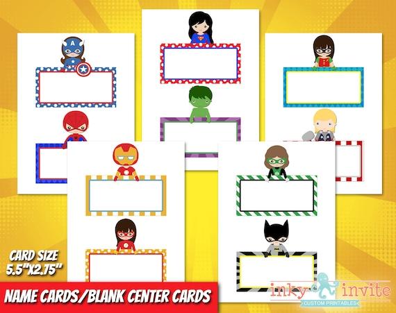 Superhero Classroom Blank Name Cards Or Center Cards Pre School Classroom Classroom Decorations Superhero Home School Desk Plate Tag