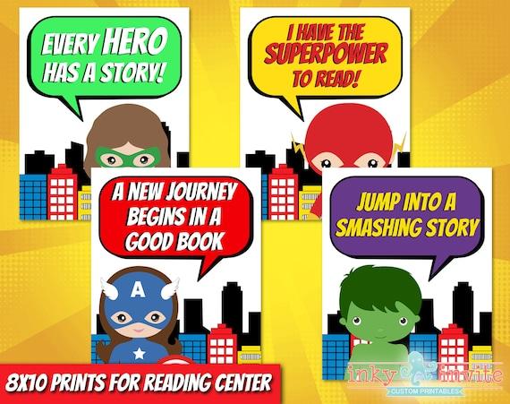 Superhero Classroom Reading Center Posters Pre School Classroom Classroom Decorations Superhero Home School Library Superhero Prints