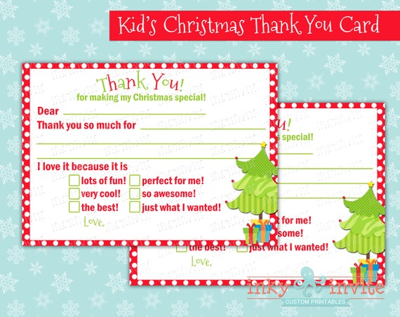 Kids Diy Christmas Thank You Card Gift Thank You Card Diy Etsy