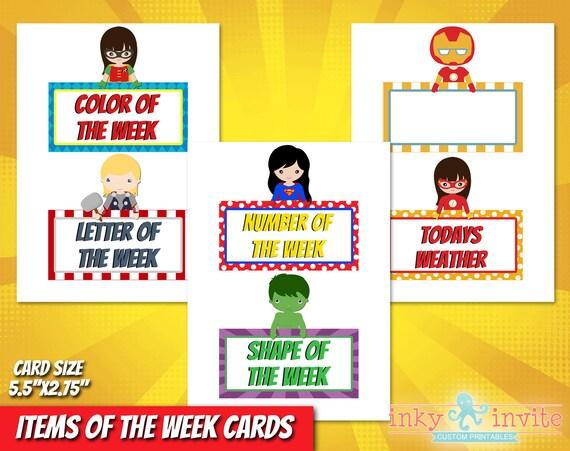 Superhero Classroom Items Of The Week Cards Pre School
