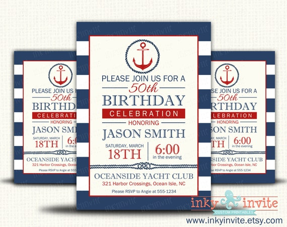 Birthday Invitations For Men Adult Nautical