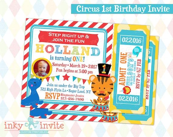 Circus 1st Birthday Invite