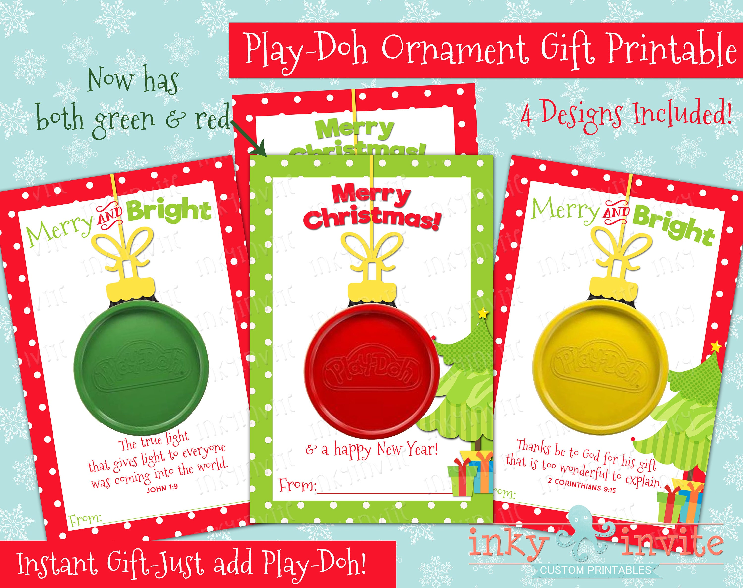 Play-Doh Ornament Gift Card Class Christmas Gifts Small | Etsy