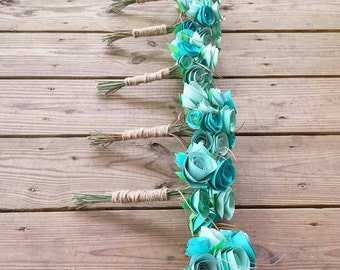 Paper bouquet. Wedding bouquet. Shades of mint and blue paper flower wedding bouquets. Paper flower bouquet - wedding bouquet- paper flower