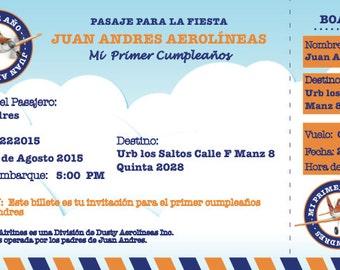 Planes Birthday Ticket Invitation (digital)