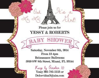 Paris themed Baby Shower Invitation
