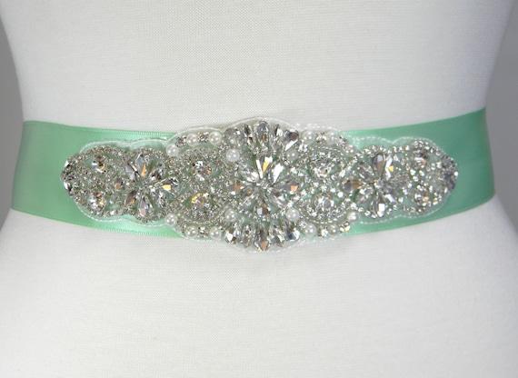 acfe8aad7 Wedding Belt Mint Bridal Belt Bridal Sash Bridesmaid Belt   Etsy