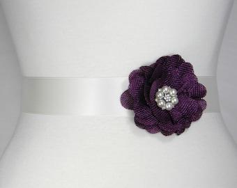 Plum Purple Bridal Sash, Wedding Belt, Bridal Belt, Flower Girl Dress Sash, Bridesmaid Belt, Satin Sash, Simple Wedding Dress Sash Belt POSY