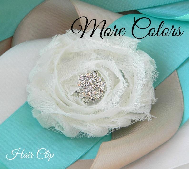 Bridesmaid Hair Clip Flower Girl Hair Clip Rhinestone Hair Pin Shabby Chiffon Flower with Alligator Clip Bridal Wedding Hair Accessories