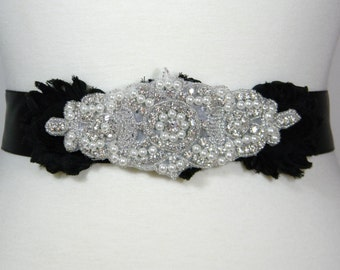Wedding Belt, Bridal Belt, Black Bridal Sash, Bridesmaid Belt, Flower Girl Sash Belt, Pearl and Crystal Rhinestone Wedding Bride Belt, WILLA