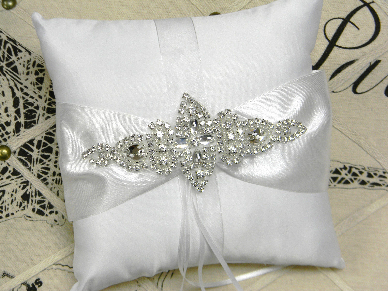 Ring Bearer Pillow White Or Ivory Ring Bearer Pillow Crystal Etsy
