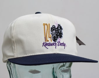 cd8b67023f2 1998 Kentucky Derby Baseball Cap - Deadstock with Tags!   Derby 124    Contrast Bill - Navy Blue   Off-white