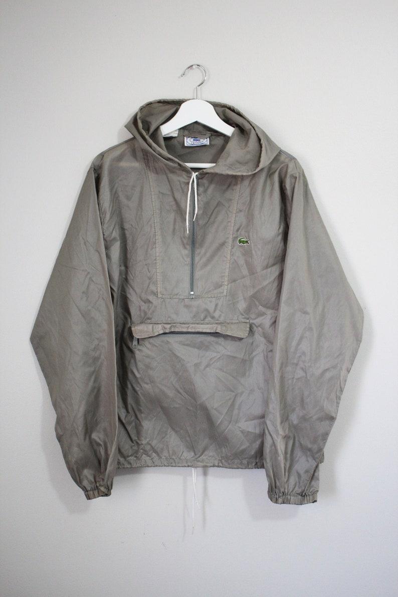Platinum  Deep Silver  With hood hooded Vintage Lacoste Pullover Windbreaker RARE COLOR MEDIUM M Preppy 80s Jackets