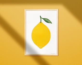 Linocut Print Big Lemon - 21x30 - Two Coloured Handmade Linoprint - Happy Colourful Fruit Poster