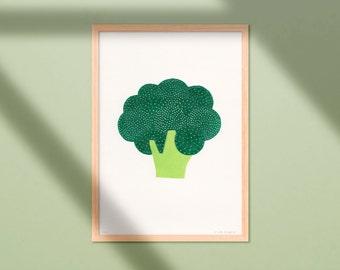 Linocut Print Broccoli - 21x30 - Two Coloured Handmade Linoprint - Happy Colourful Vegetable Poster