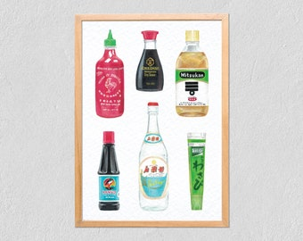 Art Print Bottles 21x30 - Collection Of Illustrated Packaging - Poster Marker, Gouache and Coloured Pencil On Tintoretto Gesso