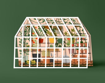 Plant Filled Greenhouse Cut Out - Your Own Tiny Greenhouse - Folded Card with Kraft Envelope
