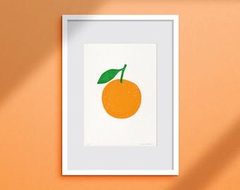 Linocut Print Bright Orange - 17x24 cm - Two Coloured Handmade Fruit Linoprint - Happy Colourful Handprinted Poster