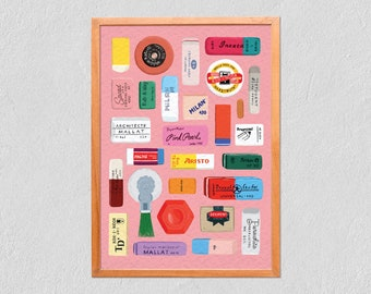 Art Print Erasers 21x30 - Collection Of Illustrated Colourful Erasers - Poster On Tintoretto Gesso Paper