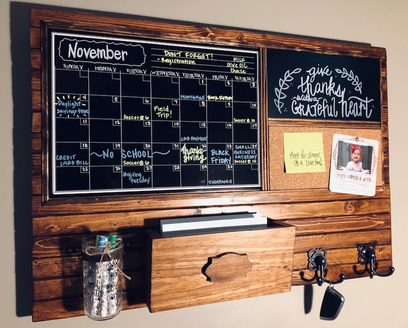 Large Chalk Calendar Chalk Message Board Cork Board